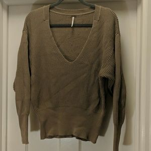 Free People | Taupe V neck Sweater